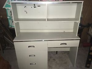 Desk with shelving topper