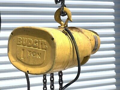Budgit 1 Ton Electric Chain Hoist 10 Ft Lift 3 Phase Power