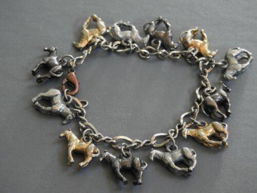 vintage RUNNING HORSES charm bracelet horse equine 3 colors