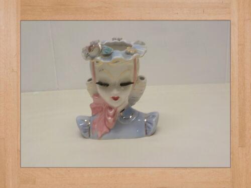 "Lady Head Vase Lefton BARBARA Blue & Pink 5"" Vintage Planter"