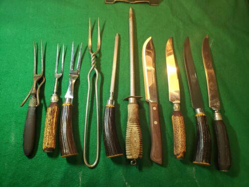 LOT OF 10 Vintage Animal Horn, Bakelite and Wood Handles Carving Forks & Knives