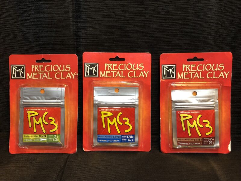 PMC3 Precious Metal Clay ~6.3g,7g ~17.8g,16g ~ 55.5g,50g Silver ~PMC JAPAN