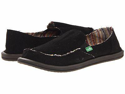 Women Sanuk Donna Hemp Slip On Canvas Shoes SWF1160 Black 100/% Authentic New