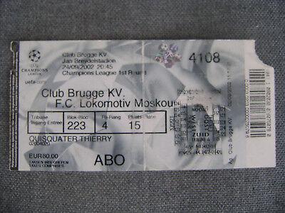 TICKET CLUB BRUGGE - Lokomotiv MOSKOU  C.L.  24/09/2002