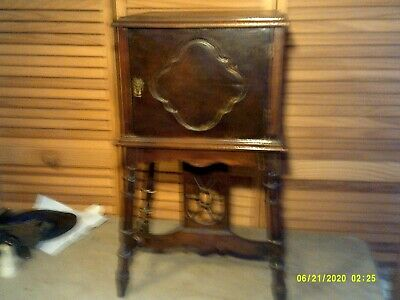 Vintage Tobacco Humidor Stand Smoking Stand  Cigar Cabinet Table Copper Lined
