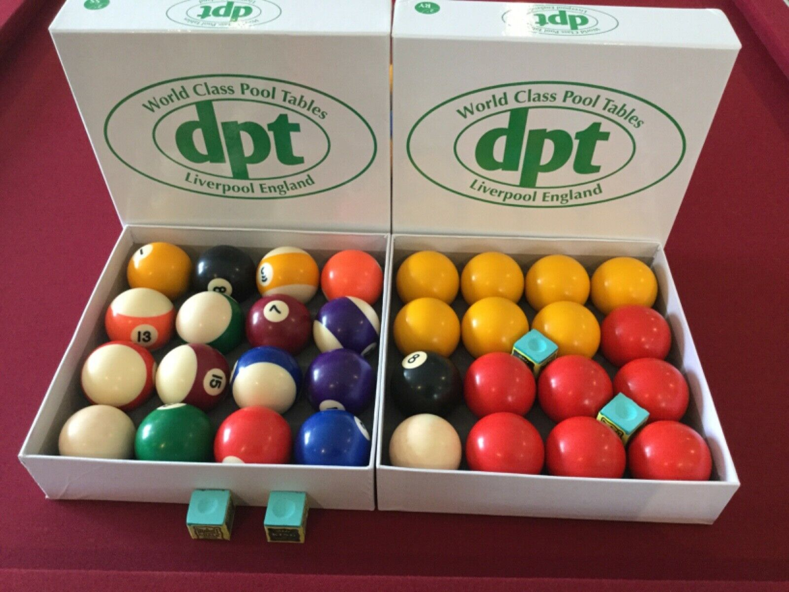 DPT Pool Ball Set, 2 Inch - Red and Yellow and spots and stripes