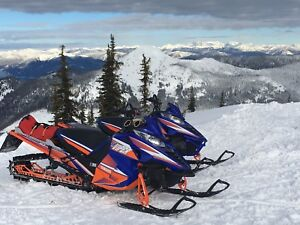 Two Yamaha Viper Mtx sleds with trailer