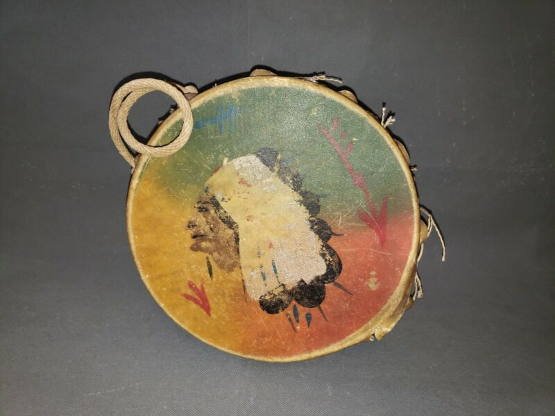 Vtg Hand Crafted RAWHIDE NATIVE AMERICAN INDIAN Hand-Drum