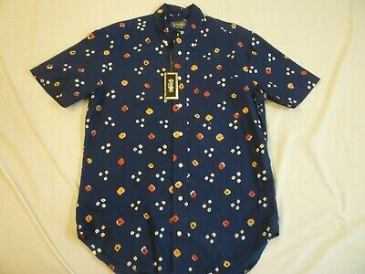 GITMAN VINTAGE Navy Print Cotton Shirt M Made In USA $230 New With Tag FREE SHIP