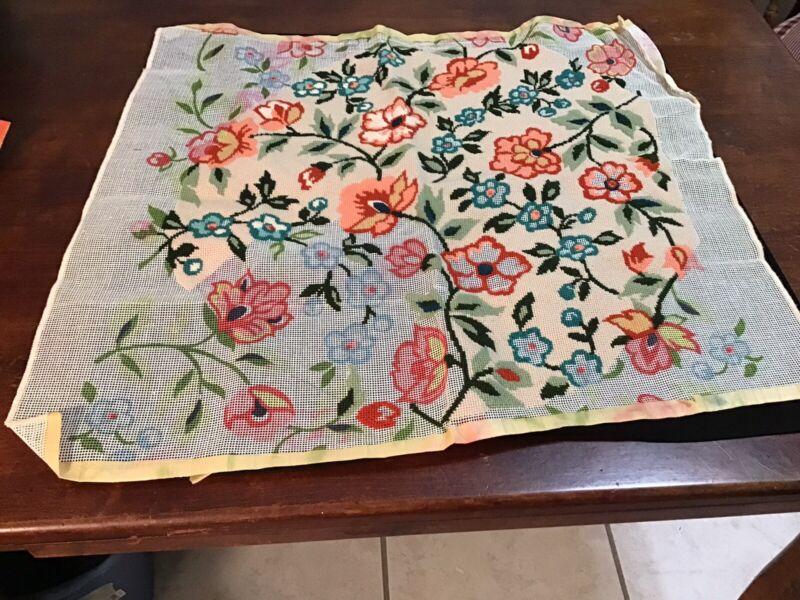 Needlept Unfinished Vintage Flowers Beige Backg Multi Colors 23X21 (313