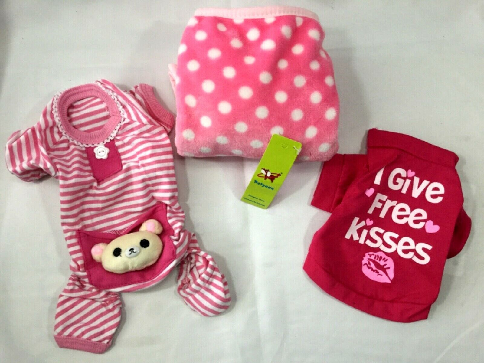 PINK X-Small Girl Puppy Dog 3PC Sleep Gift Set Clothes T Shi