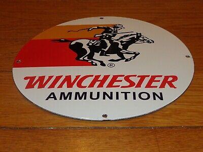 """VINTAGE NOS WINCHESTER AMMUNITION GUN 11 3/4"""" PORCELAIN METAL GASOLINE OIL SIGN"""