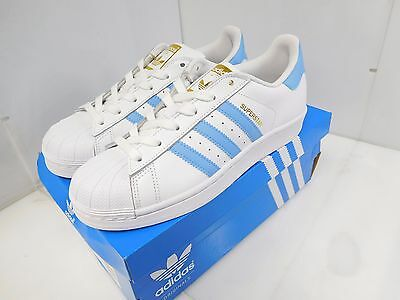 adidas Originals Women's Superstar Casual Shoes Size 7 US White/Blue