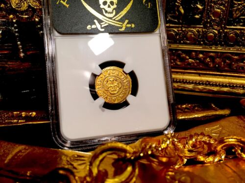 """Spain 1701 1 Escudos Ngc 55 """"pop 1 ~ Only 1 Kn!"""" Gold Doubloon Cob Treasure Coin"""