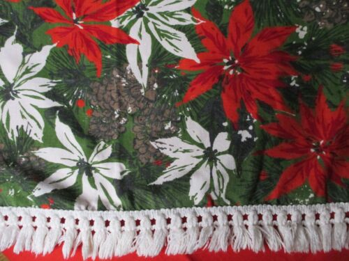 Vintage Christmas Tablecloth Handmade Red White Poinsettia Holly Pinecone 52x72