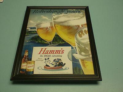 1956 HAMM'S BEER FRAMED COLOR AD PRINT