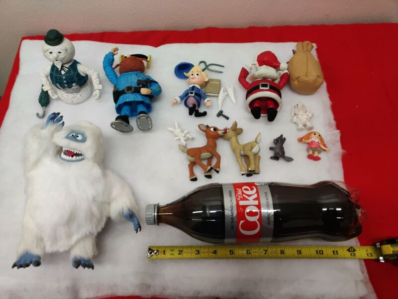 """Lot Rudolph the Red Nosed Reindeer Christmas Large Figures 4"""" 5"""" 8"""" abominable"""
