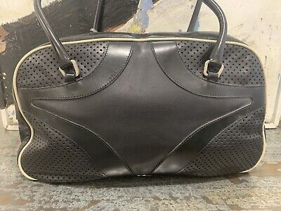 $1800 Vintage Prada Bowling Black Leather Shoulder Hand Bag Authentic Beautiful