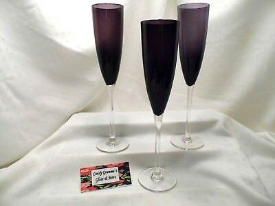 Amethyst Dark Purple Champagne Wine Flute Set of Three   - Purple Champagne Glasses