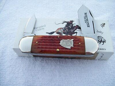 1997 Winchester USA Big Sunfish Knife Orange Bone Handle Buffalo Head Series NIB