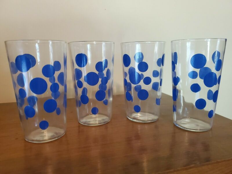 Set 4 MCM Blue Polka Dot Tumblers Drinking Glasses Vintage Barware
