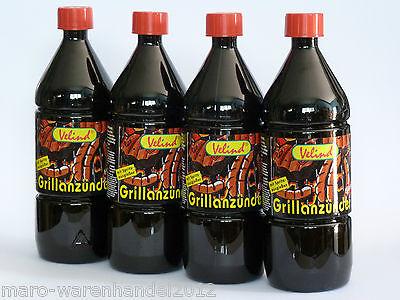 (3,23€/L) 4x 1 Liter Velind Grillanzünder Flüssig Anzünder Holzkohle Briketts