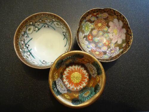 Antique Kutani Sake Cup x 3