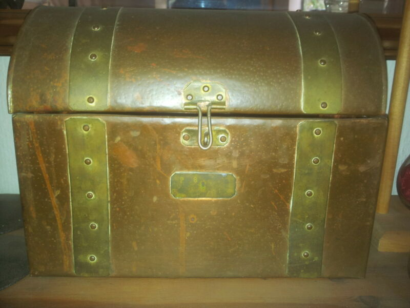 Antique Brass and Copper Chest