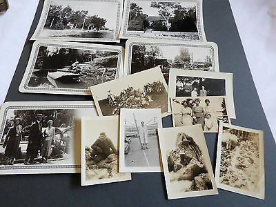 Lot of 12 Photographs Snapshots old black & white photos Nature people Travel