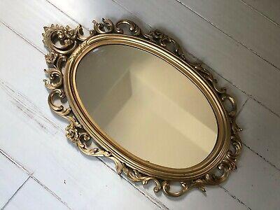 Vintage Syroco Mirror Gold Floral Ornate Oval Shape MCM 60s Decor, Plastic frame