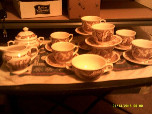 Vtg Alfred Meakin Fair Winds set of 8 Cups & Saucers, Sugar & Creamer