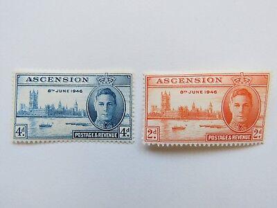 2x Vintage 1946 Ascension Island 2d and 4d Victory. George V - MNH