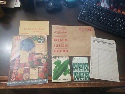 Vintage 1951 Mills Seeds Catalog Sample, envelope, order form, Rose Hill N.Y.