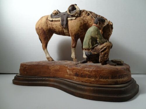 THE LAST DROP FROM HIS STETSON SCULPTURE MUSEUM QUALITY STONE COMPOSITE NOT WOOD