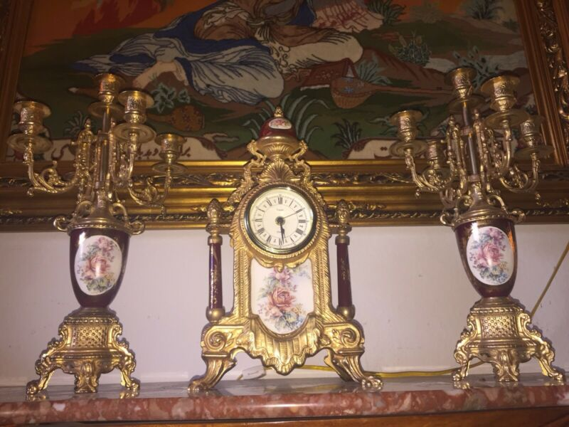 Italian antique clock And Candelabras