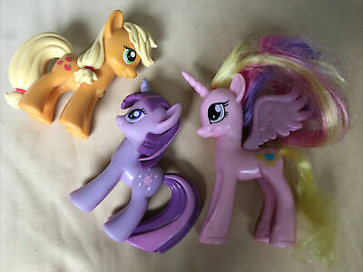 "Vintage Lot Of 3: 3"" My Little Pony Figures and 3.5"" Pink Pegasus w/Rainbow Hair"