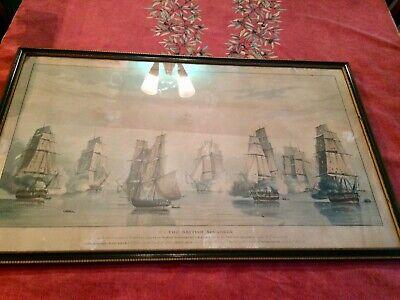 antique painting, print The British Squadron, Schomberg Off Tamatave 1811 navel