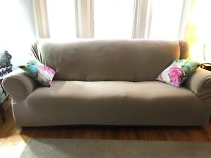 Surefit Slipcover for 3 seat couch - neutral sand colour
