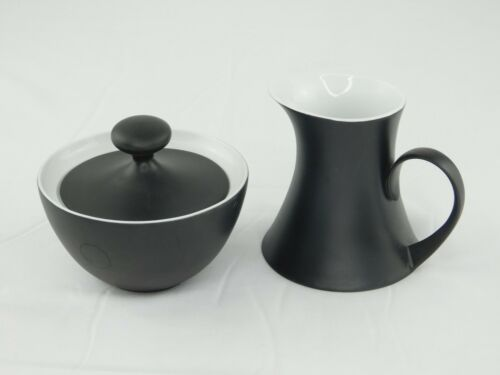 Block Espana Noche Bidasoa Spain Matte Black Sugar Bowl with Lid & Creamer