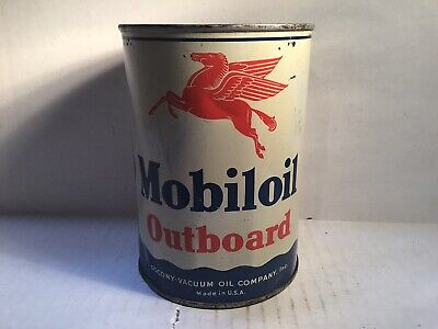 Vintage Mobil Outboard NOS Oil Can Quart Metal Gas Rare Handy Shell Amoco Veedol