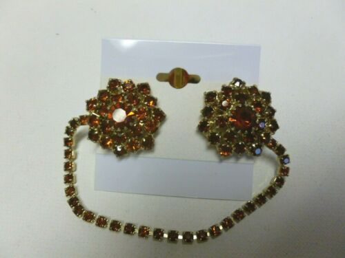 Vintage Gold Tone Orange Amber Rhinestone Sweater Dress Scarf Clip