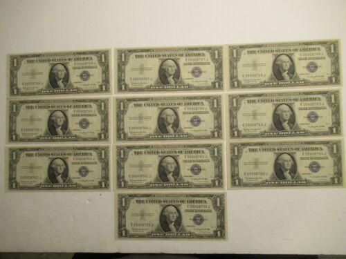 TEN consecutive 1935 H  $1 silver certificate, UNC