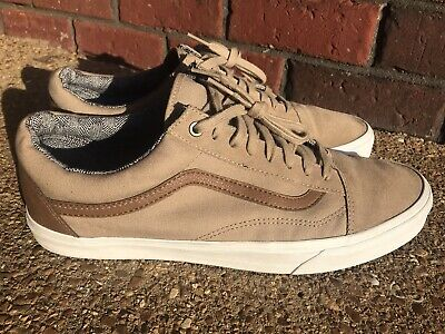 Vans Old Skool Khaki/Brown Leather & Canvas Mens Sneakers 13 Excellent Cond
