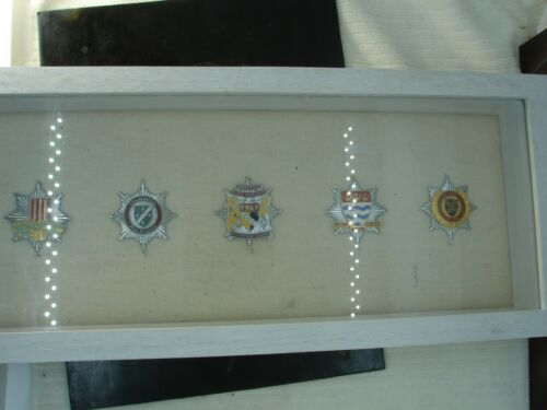 Group of 5 Vintage Obsolete British Fire Brigade Badges in Display Case HMB1