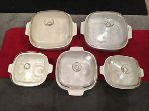 Corningware white square dishes with glass cover