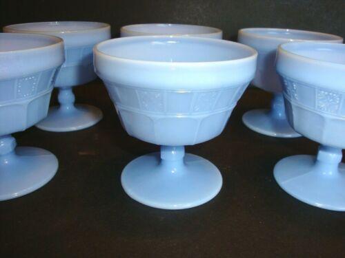6 Vintage Blue Slag Glass SHERBET/DESSERT CUPS Sherbert Milk Jeanette Glass Set