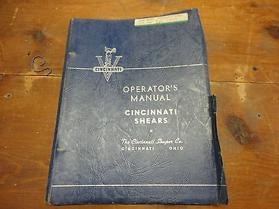Cincinnati 1812 Mechanical Shear Operations Maint Manual