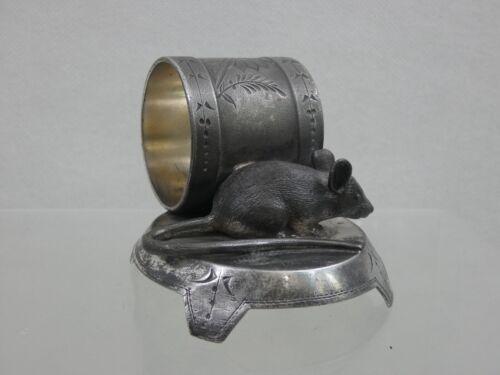 RARE ANTIQUE FIGURAL NAPKIN RING MOUSE RAT AMERICAN Wilcox Silver Co. 19 century