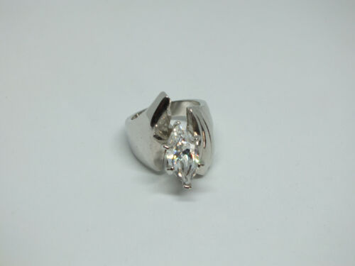 Stunning Chunky Cocktail Ring Silver Tone Large Clear Rhinestones Size 6 1/2 WOW