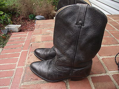 DINGO brand mens size 8 1/2 D leather boots Black 13 in high 1 5/8 inch heel EUC